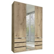Drehtürenschrank mit Spiegel 150cm Level 36a, Eichen Dekor - Eichefarben, MODERN, Glas/Holzwerkstoff (150/216/58cm) - MID.YOU