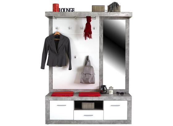 Garderobe Malta in Betonoptik - Weiß/Grau, MODERN, Holzwerkstoff (145/197/36cm)