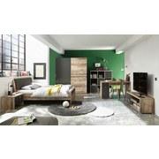 Bett mit Gepolstertem Kopfteil 140x200 Merlin, Old Style - Fichtefarben/Anthrazit, Basics, Holzwerkstoff/Textil (140/200cm) - MID.YOU