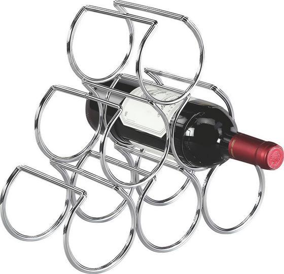 Regál Na Víno Wein - chrómová, Moderný, kov (30/28/13cm)
