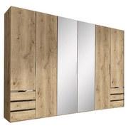 Drehtürenschrank mit Spiegel 300cm Level 36a, Eichendekor - Eichefarben, MODERN, Glas/Holzwerkstoff (300/216/58cm) - MID.YOU