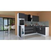 Küchenblock Premium B: 280 cm Grau Hgl - Weiß/Grau, MODERN, Holzwerkstoff (280/220,5/172cm) - MID.YOU