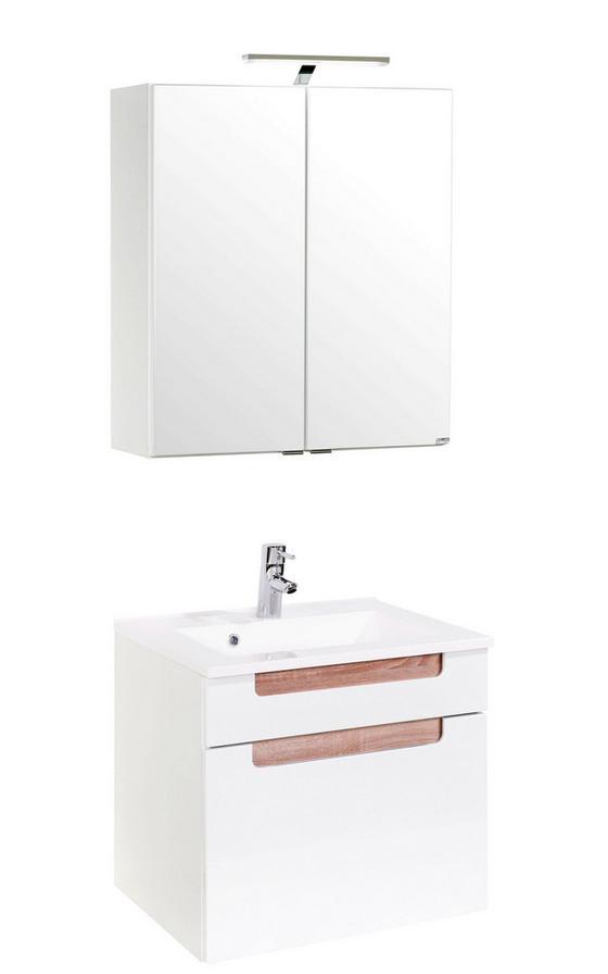 Badezimmer Siena 60cm Weiß/sonoma Eiche - Weiß/Sonoma Eiche, MODERN, Holzwerkstoff/Kunststoff (60/48cm)