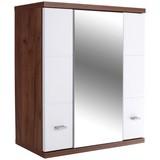 Hängender Spiegelschrank Bari B: 70cm, Weiß + Eiche Dekor - Weiß, KONVENTIONELL, Holzwerkstoff (70/70/25cm)
