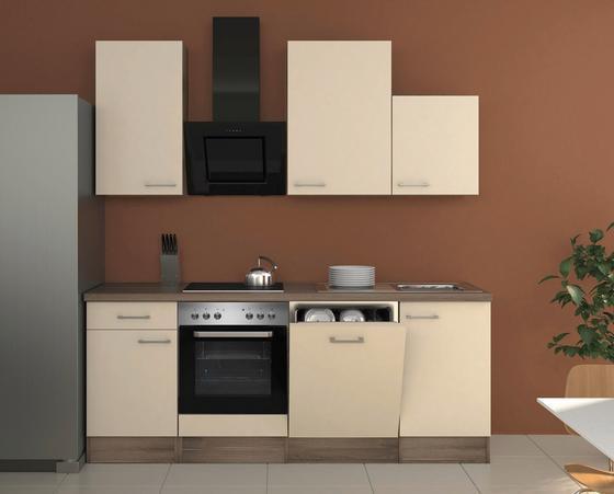 Küchenblock Eico 220 cm Magnolie - Edelstahlfarben/Eichefarben, MODERN, Holzwerkstoff (220/60cm)