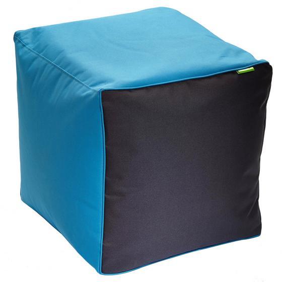 Taburet Cortona - petrolej/antracitová, textil (50/50/50cm)