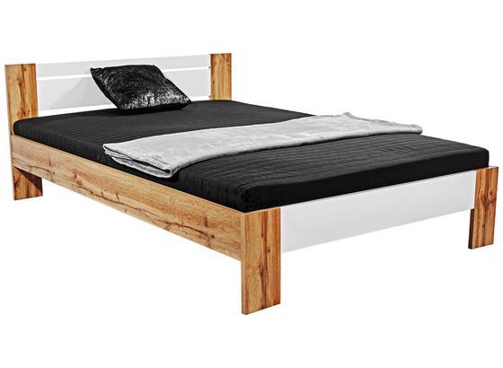 Futon Ágykeret Vega - Tölgyfa/Fehér, konvencionális, Faalapú anyag/Textil (145/35-71/204cm)