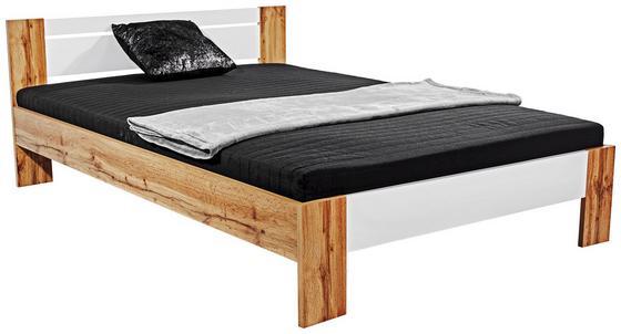 Futonová Postel Vega *cenový Trhák* - bílá/barvy dubu, Konvenční, textil/dřevěný materiál (145/35-71/204cm)