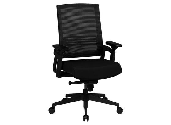 Schreibtischstuhl Apollo mit Armlehnen + Wippfunktion - Schwarz, MODERN, Kunststoff/Textil (65/100/65cm) - Livetastic