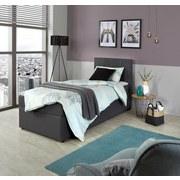 Boxbett mit Topper Carolina 90x200 cm - Schwarz/Grau, Basics, Holz/Textil (90/200cm)