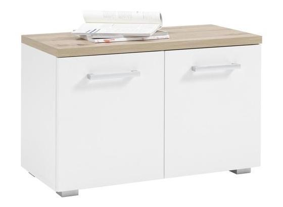 Garderobenbank Gomera B: 78 cm - Eichefarben/Silberfarben, KONVENTIONELL, Holzwerkstoff (78/50cm)