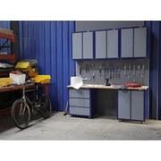 Werkbankset Large 200,5 cm Grau/blau - Blau/Buchefarben, KONVENTIONELL, Holz/Metall (200,5/232/60cm)