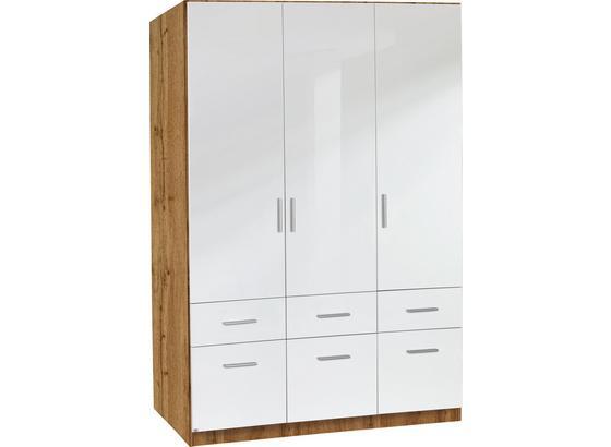 Skříň Šatní Celle - bílá/barvy dubu, Moderní, dřevo (136/197/54cm)