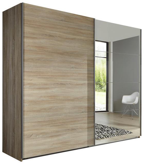 Schwebetürenschrank Ernie B:225cm Eiche Dekor/spiegel - Eichefarben, MODERN, Glas/Holzwerkstoff (225/210/65cm)