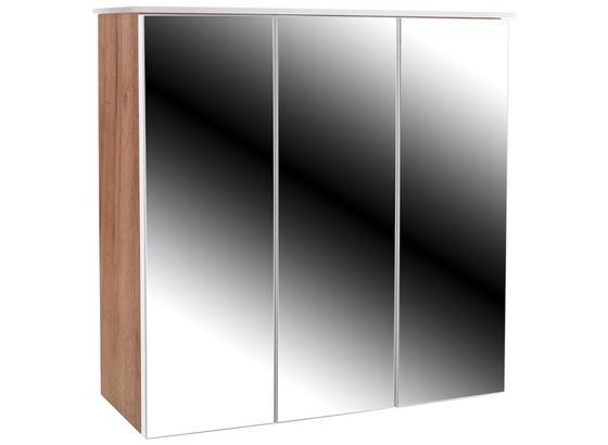 Skříňka Se Zrcadlem Avensis 312 - bílá/barvy dubu, Moderní, kompozitní dřevo/sklo (75/73/20,5cm) - Luca Bessoni