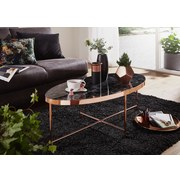 Couchtisch Glas Oval In Marmor-Oprik, Schwarz/Kupfer - Schwarz/Kupferfarben, Design, Glas/Metall (110/56/41cm) - MID.YOU