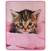Kuscheldecke Katzenbaby - Rosa, Textil (130/160cm)