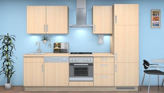 Küchenblock Alexa 280 cm Eiche Sanremo - Eichefarben/Magnolie, MODERN, Holzwerkstoff (280cm) - Vertico