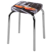 Hocker Sandra Stapelbar - Chromfarben/Orange, MODERN, Textil/Metall (30,5/46,5/30,5cm)
