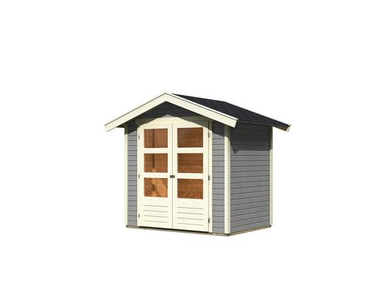 Gartenhaus Seidengrau 203x230x155cm - Hellgrau, MODERN, Holz (203/230/155cm) - Karibu