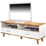 TV-Lowboard Rivoli B: 160 cm Wotan Eiche, Weiß - Eichefarben/Weiß, MODERN, Holzwerkstoff (160/55/40cm)