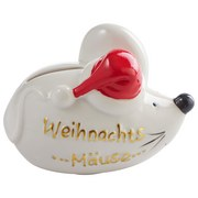Spardose Weihnachtsmäuse - Weiß, Basics, Keramik (10/7/8cm)