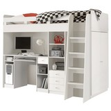 Stauraumbett Unit 90x200 inkl. Schreibtisch und Leiter - Weiß, MODERN, Holzwerkstoff (90/200cm) - MID.YOU
