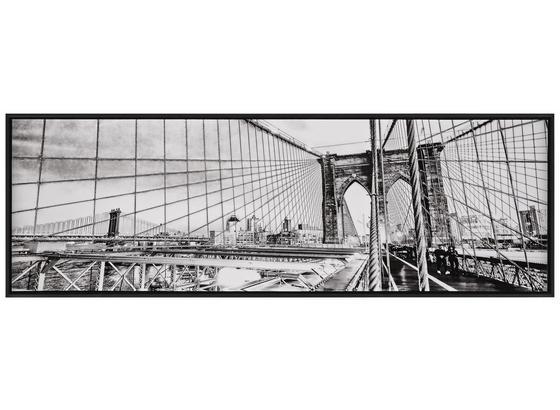 Keilrahmenbild Brooklyn Bridge - Silberfarben/Schwarz, MODERN, Holz/Kunststoff (120/40/3,5cm) - Luca Bessoni