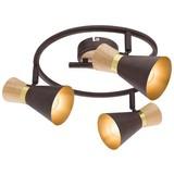 Spotrondel Rada - Rostfarben/Goldfarben, MODERN, Holz/Metall (28/16cm)