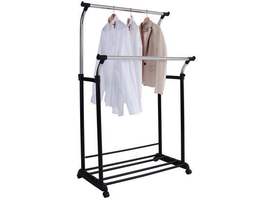 Pojízdný Šatní Věšák Swing - černá/barvy chromu, Moderní, kov/umělá hmota (90/111-170/52,5cm)