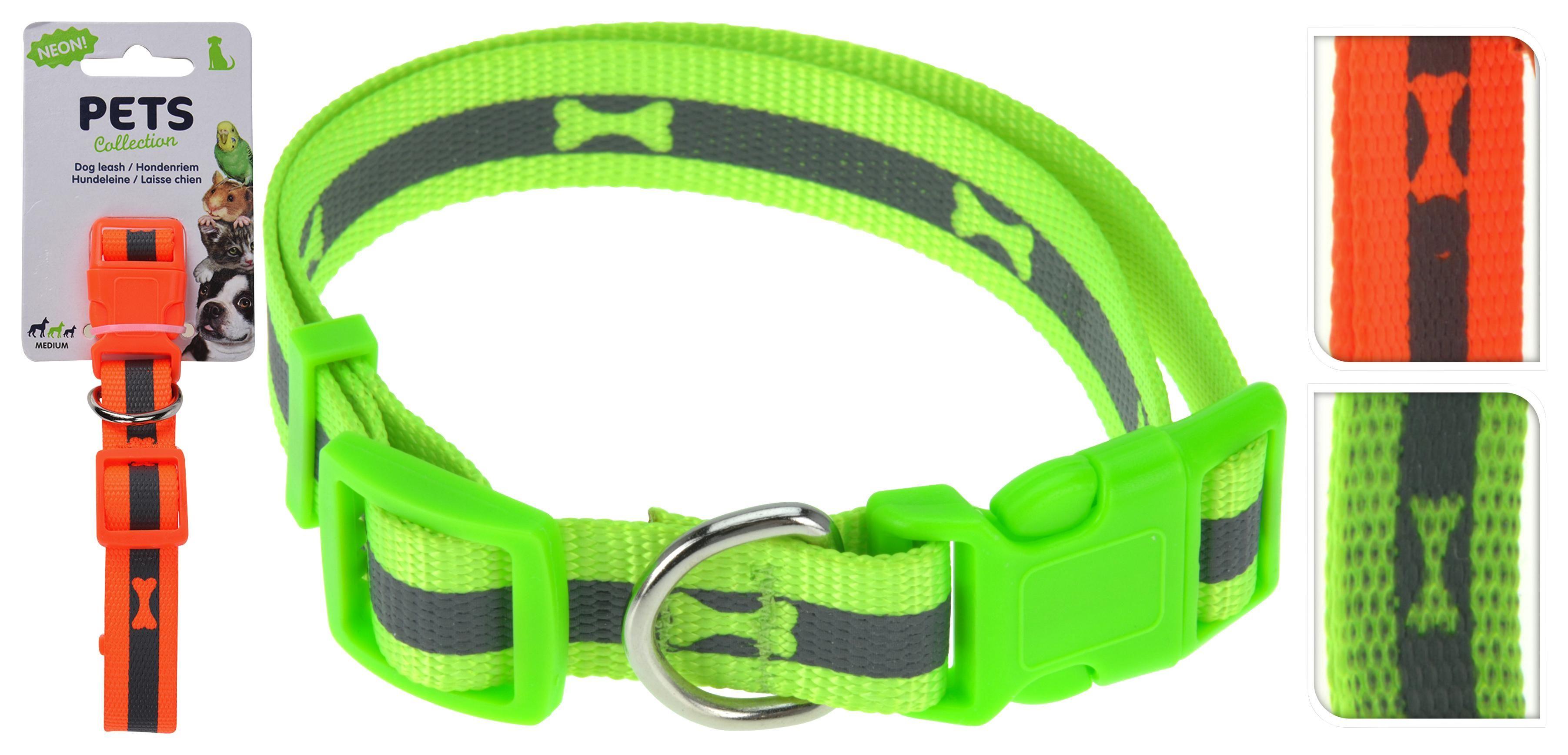 Hundehalsband Reflektierend Medium - Orange/Grün, Basics, Kunststoff/Textil (50cm)