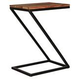 Beistelltisch In Z-Form Akola, Sheesham Echtholz + Edelstahl - Sheeshamfarben/Schwarz, Design, Holz/Metall (45/62/32cm) - Livetastic