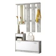 Garderobe Vera B: 100 cm Grau / Weiß - Weiß/Grau, KONVENTIONELL, Holzwerkstoff (100/191/25cm) - MID.YOU