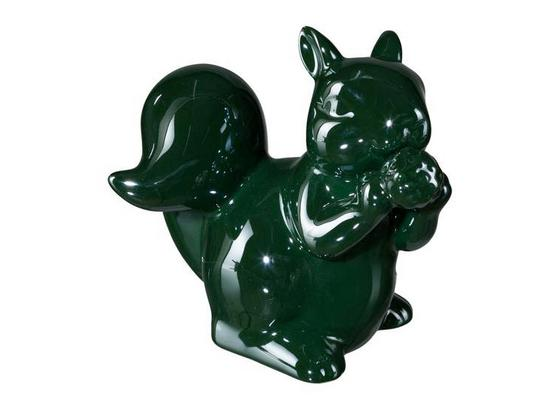 Dekoeichhörnchen H: 12,5 cm,grün - Dunkelgrün, MODERN, Keramik (13/10/12,5cm)