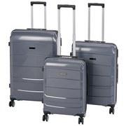 Reisekoffer Set 3-Tlg. New York 4 Rollen Hartschale - Dunkelgrau, MODERN, Kunststoff/Textil