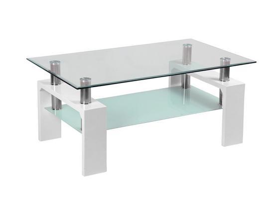 Couchtisch Glas mit Ablageflächen Silvia, Weiß - Klar/Weiß, MODERN, Glas/Holzwerkstoff (100/45/60cm)