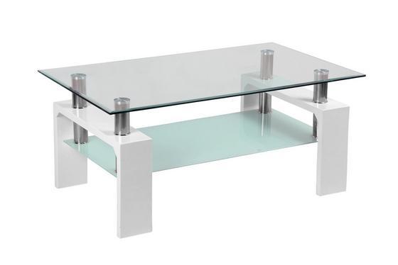 Konferenčný Stolík Silvia - biela/číre, Moderný, kompozitné drevo/sklo (100/45/60cm)