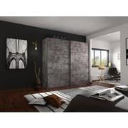 Schwebetürenschrank Belluno 226 cm Stone Dekor - Grau, MODERN, Holzwerkstoff (226/230/62cm)