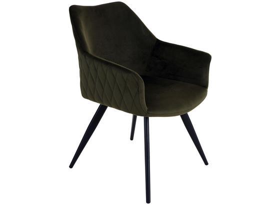 Stuhl Barcelona B: 55 cm Grün - Schwarz/Grün, MODERN, Textil/Metall (55/79,5/58cm)