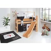 Spielbett Leo 90x200 cm Buche Massiv - Rot/Schwarz, Design, Holz/Textil (90/200cm)