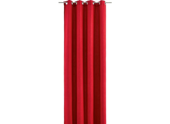 Závěs S Kroužky Ulli - červená, textil (140/245cm) - Mömax modern living