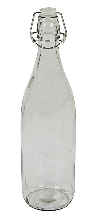 Universalflasche Irinai, 1 Liter - Klar, KONVENTIONELL, Glas/Metall (8,5/31,5cm) - Ombra
