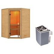 Sauna Grenoble mit interner Steuerung am Ofen - Naturfarben, MODERN, Holz (145/187/145cm) - Karibu