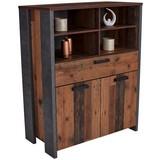 Highboard Clif B:107cm Old-Wood Vintage/Betonoptik - Dunkelgrau, MODERN, Holzwerkstoff/Kunststoff (107/128/42cm)