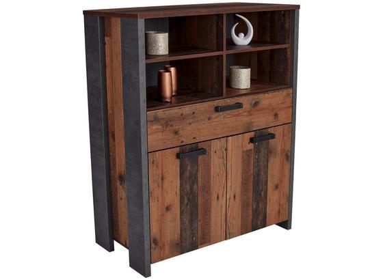 Komoda Highboard Clif - tmavosivá, Moderný, kov/kompozitné drevo (107/128/42cm)