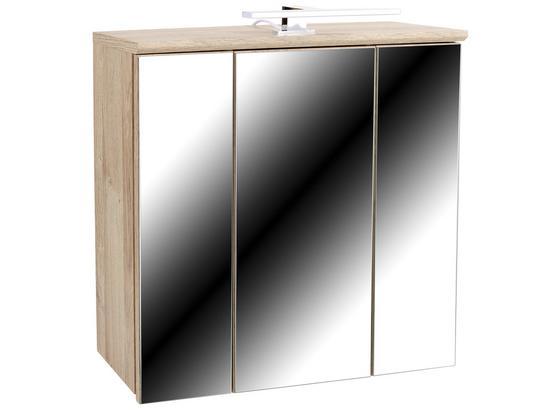 Skříňka Se Zrcadlem Mindi - bílá/barvy dubu, Konvenční, kov/kompozitní dřevo (68,8/69,4/21cm)