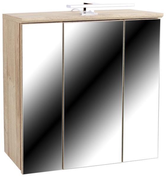 Skrinka So Zrkadlom Mindi - farby dubu/biela, Konvenčný, umelá hmota/kov (68,8/69,4/21cm)