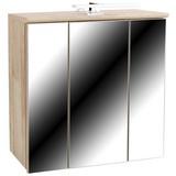 Spiegelschrank Mindi - Eichefarben/Weiß, KONVENTIONELL, Glas/Holzwerkstoff (68,8/69,4/21cm)