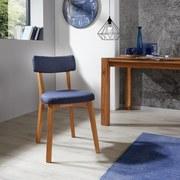 Stuhl Lotos Blau - Blau/Eichefarben, MODERN, Holz/Textil (46/81,5/59cm)