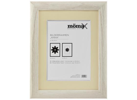 Rám Na Obrazy Anna - bílá, dřevo/sklo (18/24cm) - Modern Living